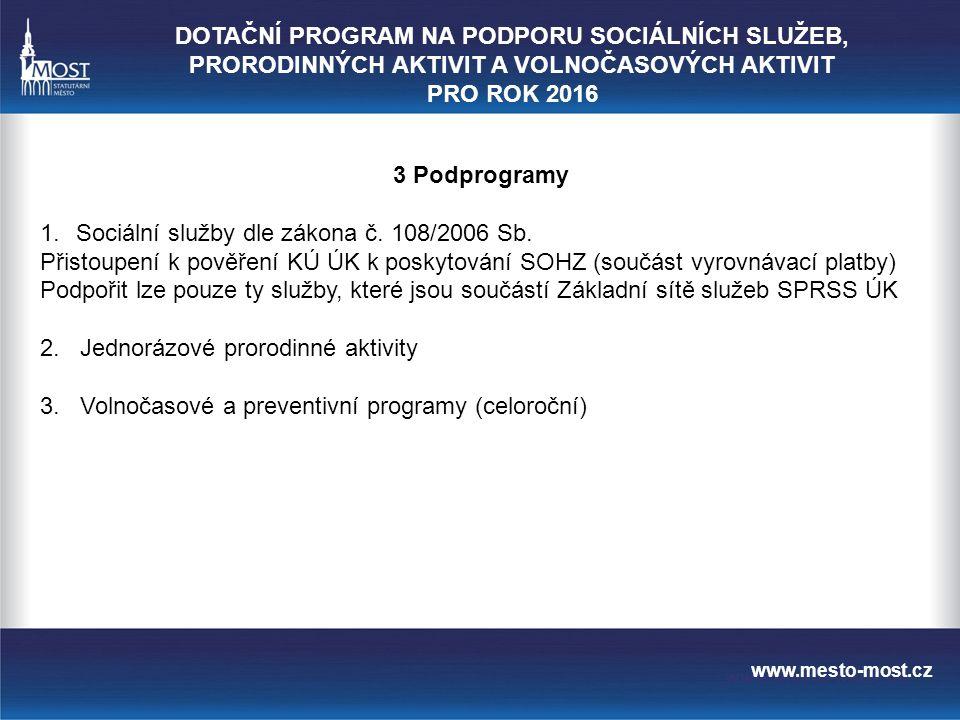 www.mesto-most.cz 3 Podprogramy 1.Sociální služby dle zákona č.