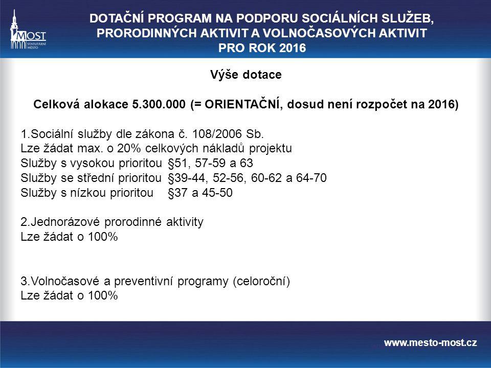 www.mesto-most.cz Výše dotace Celková alokace 5.300.000 (= ORIENTAČNÍ, dosud není rozpočet na 2016) 1.Sociální služby dle zákona č.
