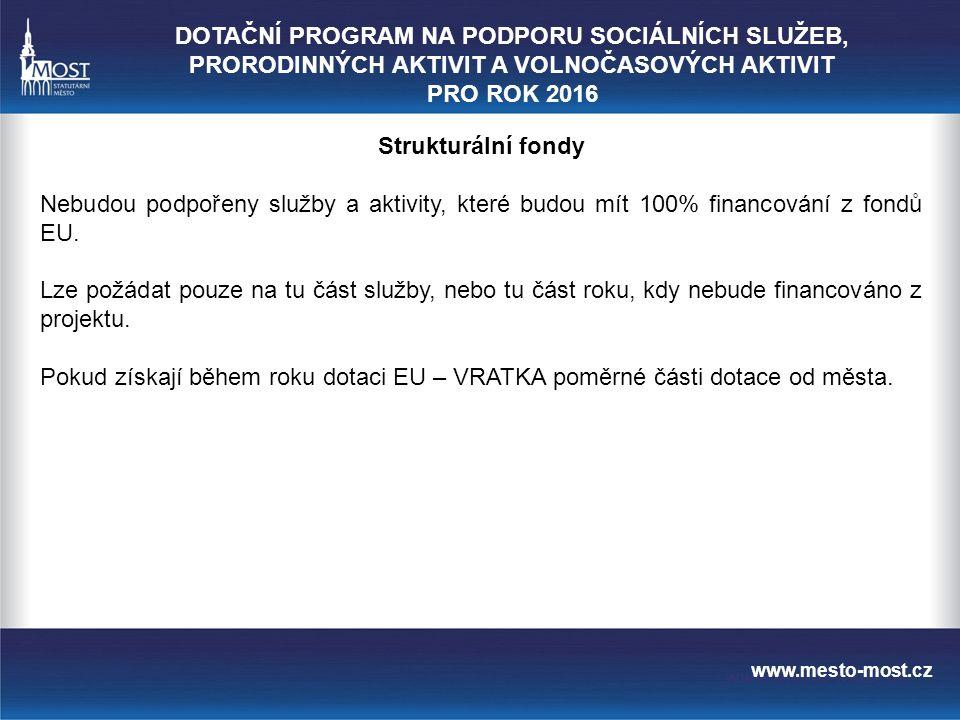www.mesto-most.cz Strukturální fondy Nebudou podpořeny služby a aktivity, které budou mít 100% financování z fondů EU.