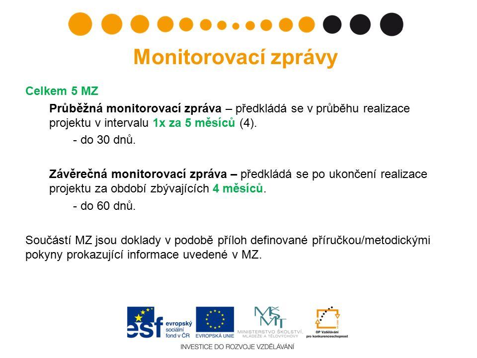 Celkem 5 MZ Průběžná monitorovací zpráva – předkládá se v průběhu realizace projektu v intervalu 1x za 5 měsíců (4). - do 30 dnů. Závěrečná monitorova