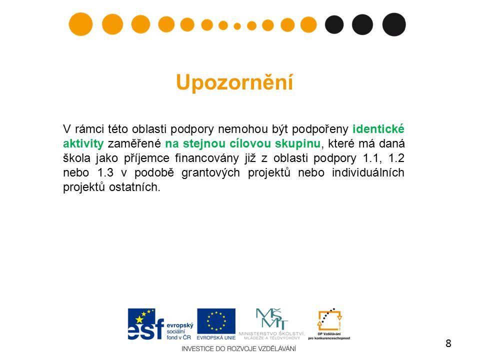 Minimum publicity 1) Plakát respektující vizuální identitu OP VK obdrží příjemce od MŠMT.