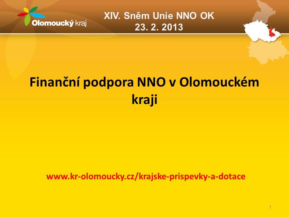 XIV. Sněm Unie NNO OK 23. 2. 2013 Finanční podpora NNO v Olomouckém kraji www.kr-olomoucky.cz/krajske-prispevky-a-dotace 1