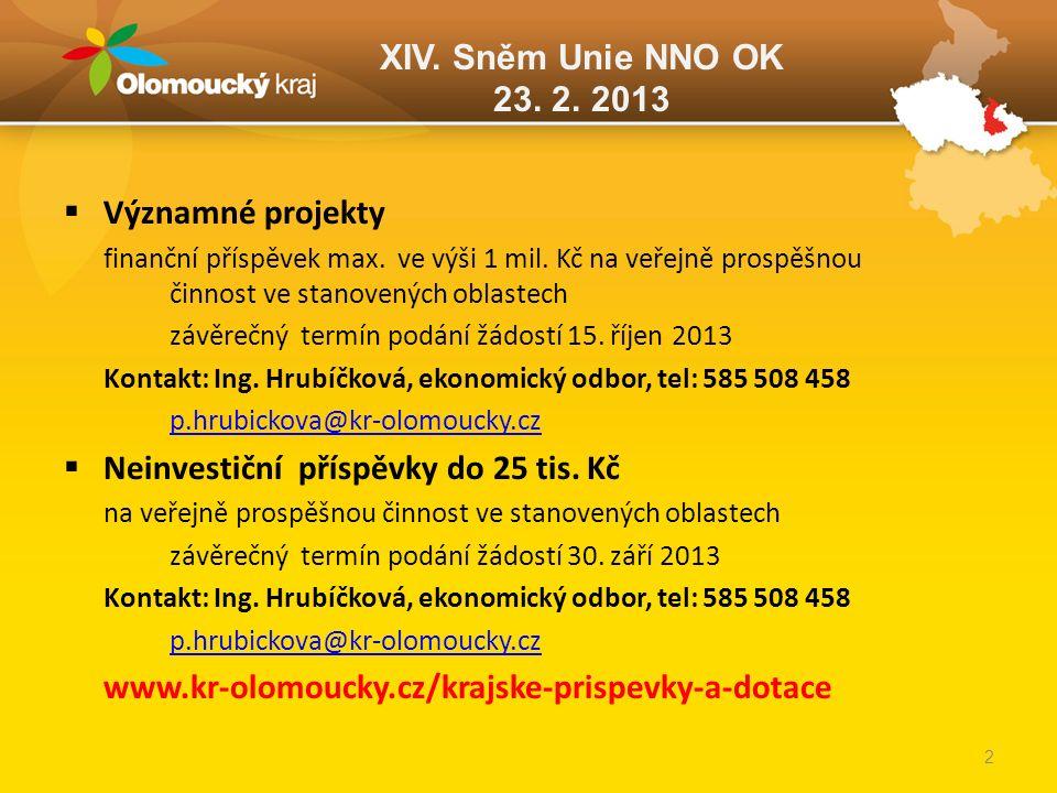 XIV. Sněm Unie NNO OK 23. 2. 2013  Významné projekty finanční příspěvek max. ve výši 1 mil. Kč na veřejně prospěšnou činnost ve stanovených oblastech