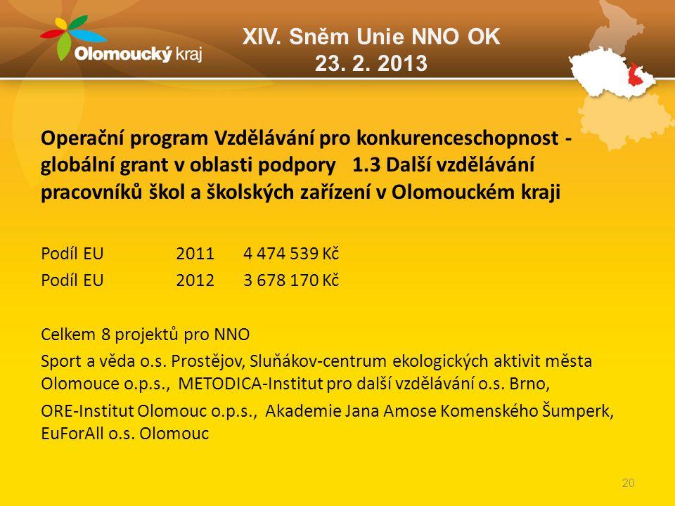 XIV. Sněm Unie NNO OK 23. 2. 2013 Operační program Vzdělávání pro konkurenceschopnost - globální grant v oblasti podpory 1.3 Další vzdělávání pracovní