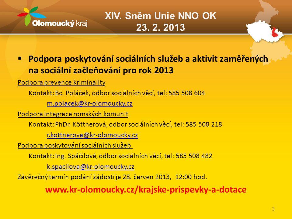 XIV. Sněm Unie NNO OK 23. 2. 2013  Podpora poskytování sociálních služeb a aktivit zaměřených na sociální začleňování pro rok 2013 Podpora prevence k
