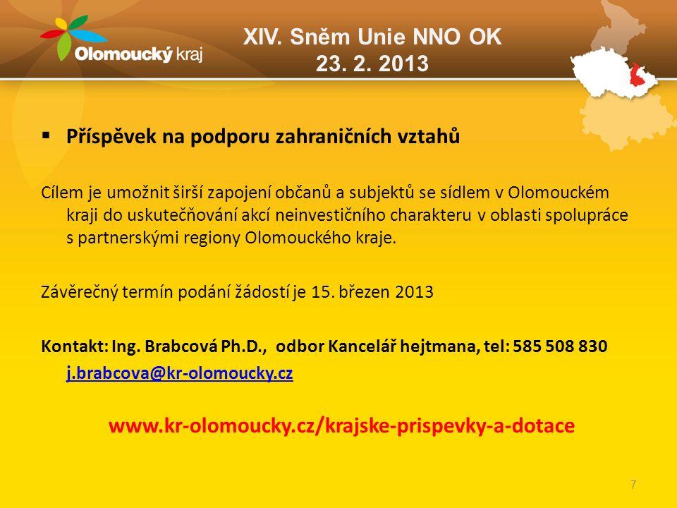XIV. Sněm Unie NNO OK 23. 2. 2013  Příspěvek na podporu zahraničních vztahů Cílem je umožnit širší zapojení občanů a subjektů se sídlem v Olomouckém