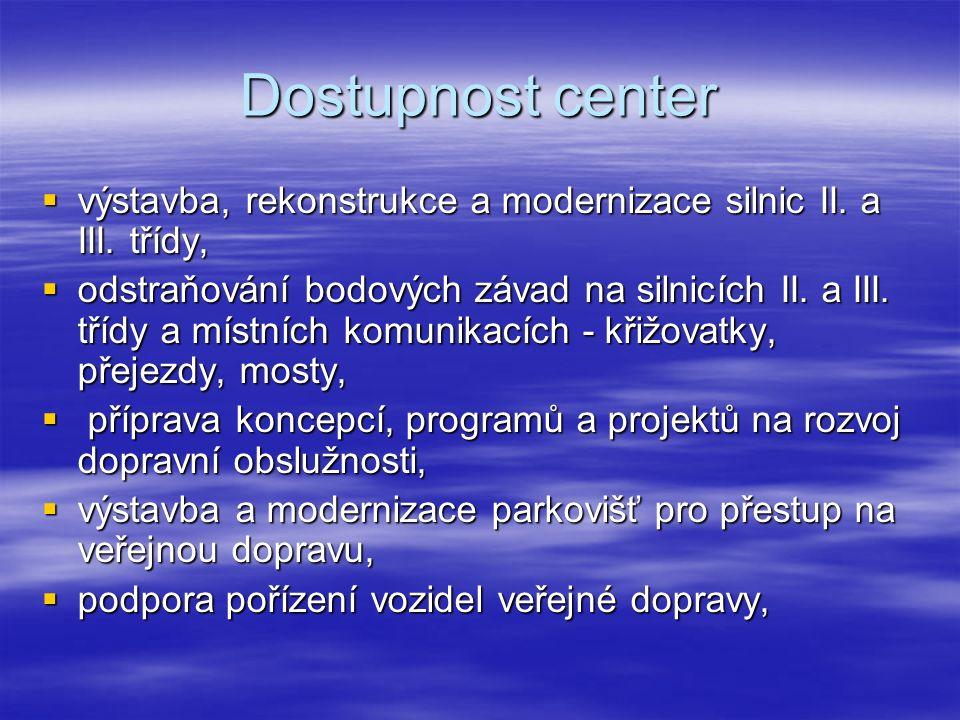 Dostupnost center  výstavba, rekonstrukce a modernizace silnic II.