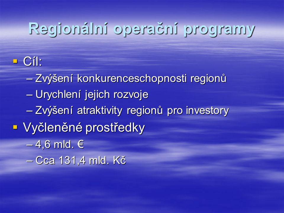 Regionální operační programy  Cíl: –Zvýšení konkurenceschopnosti regionů –Urychlení jejich rozvoje –Zvýšení atraktivity regionů pro investory  Vyčleněné prostředky –4,6 mld.