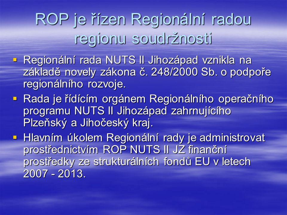 ROP je řízen Regionální radou regionu soudržnosti  Regionální rada NUTS II Jihozápad vznikla na základě novely zákona č.