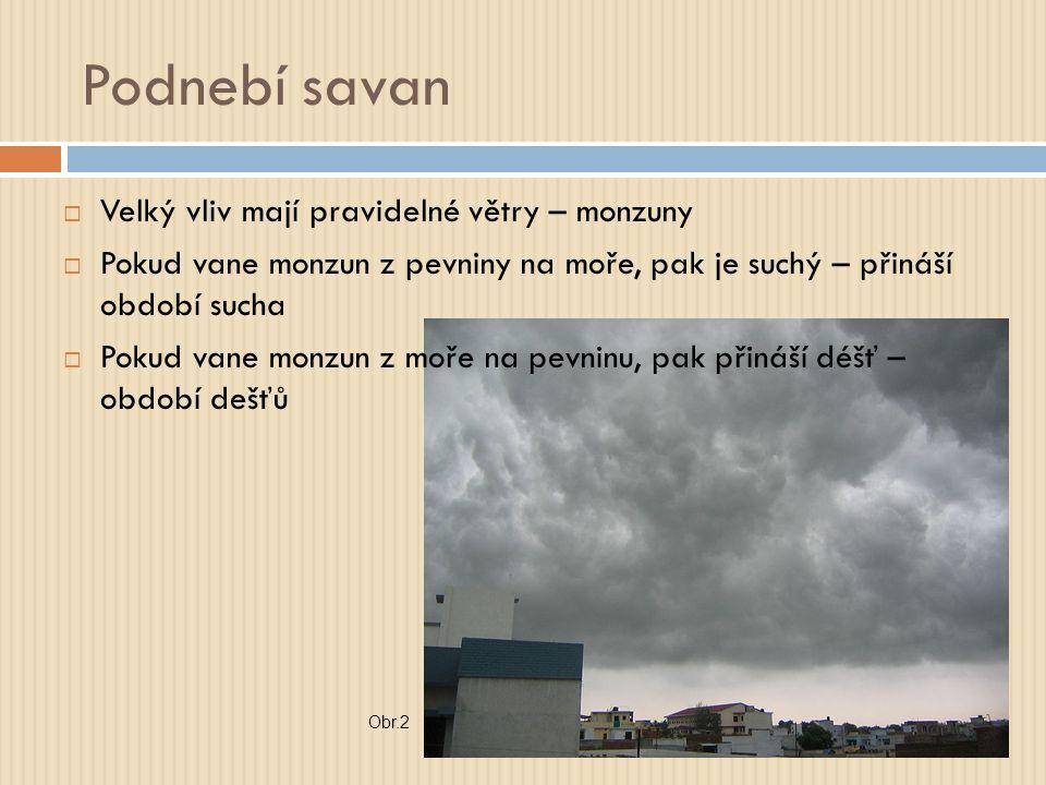 Podnebí savan  Velký vliv mají pravidelné větry – monzuny  Pokud vane monzun z pevniny na moře, pak je suchý – přináší období sucha  Pokud vane monzun z moře na pevninu, pak přináší déšť – období dešťů Obr.2