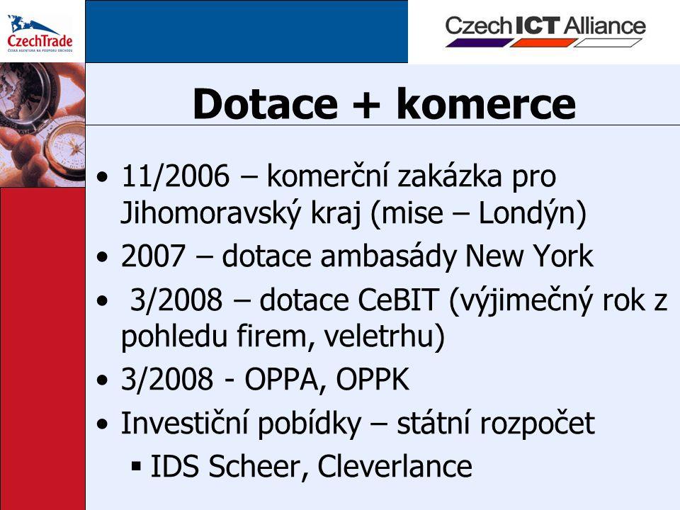 Dotace + komerce 11/2006 – komerční zakázka pro Jihomoravský kraj (mise – Londýn) 2007 – dotace ambasády New York 3/2008 – dotace CeBIT (výjimečný rok z pohledu firem, veletrhu) 3/2008 - OPPA, OPPK Investiční pobídky – státní rozpočet  IDS Scheer, Cleverlance