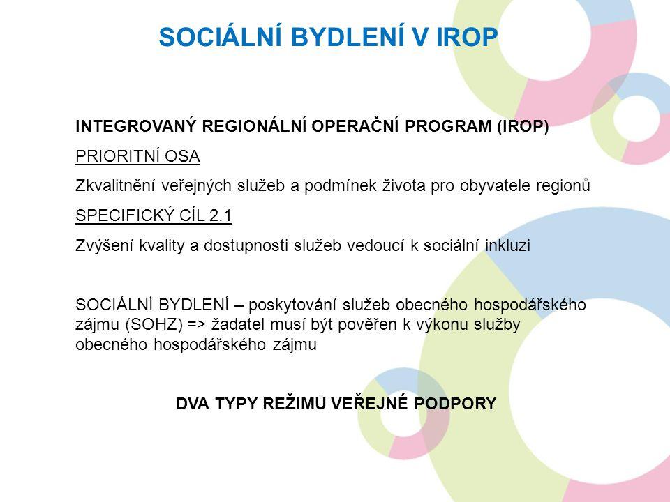 INTEGROVANÝ REGIONÁLNÍ OPERAČNÍ PROGRAM (IROP) PRIORITNÍ OSA Zkvalitnění veřejných služeb a podmínek života pro obyvatele regionů SPECIFICKÝ CÍL 2.1 Zvýšení kvality a dostupnosti služeb vedoucí k sociální inkluzi SOCIÁLNÍ BYDLENÍ – poskytování služeb obecného hospodářského zájmu (SOHZ) => žadatel musí být pověřen k výkonu služby obecného hospodářského zájmu DVA TYPY REŽIMŮ VEŘEJNÉ PODPORY SOCIÁLNÍ BYDLENÍ V IROP