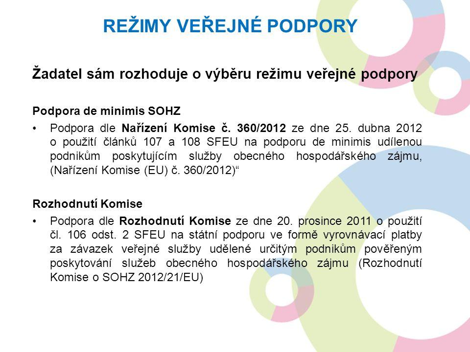 Žadatel sám rozhoduje o výběru režimu veřejné podpory Podpora de minimis SOHZ Podpora dle Nařízení Komise č. 360/2012 ze dne 25. dubna 2012 o použití