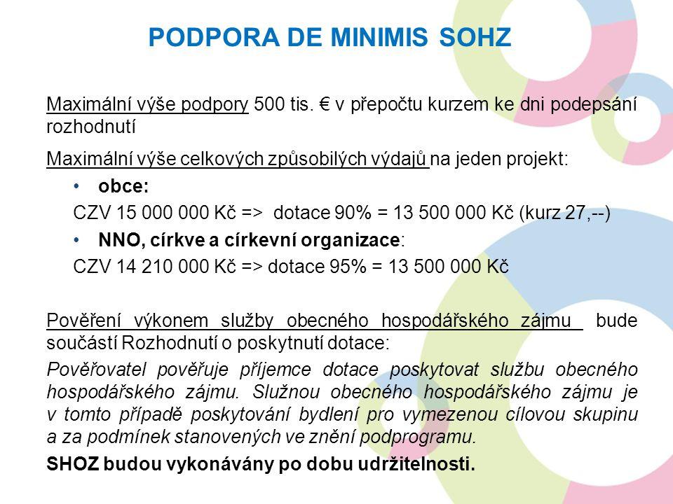 Maximální výše podpory 500 tis. € v přepočtu kurzem ke dni podepsání rozhodnutí Maximální výše celkových způsobilých výdajů na jeden projekt: obce: CZ