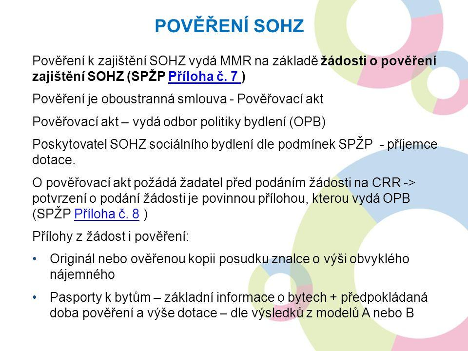 Pověření k zajištění SOHZ vydá MMR na základě žádosti o pověření zajištění SOHZ (SPŽP Příloha č. 7 )Příloha č. 7 Pověření je oboustranná smlouva - Pov
