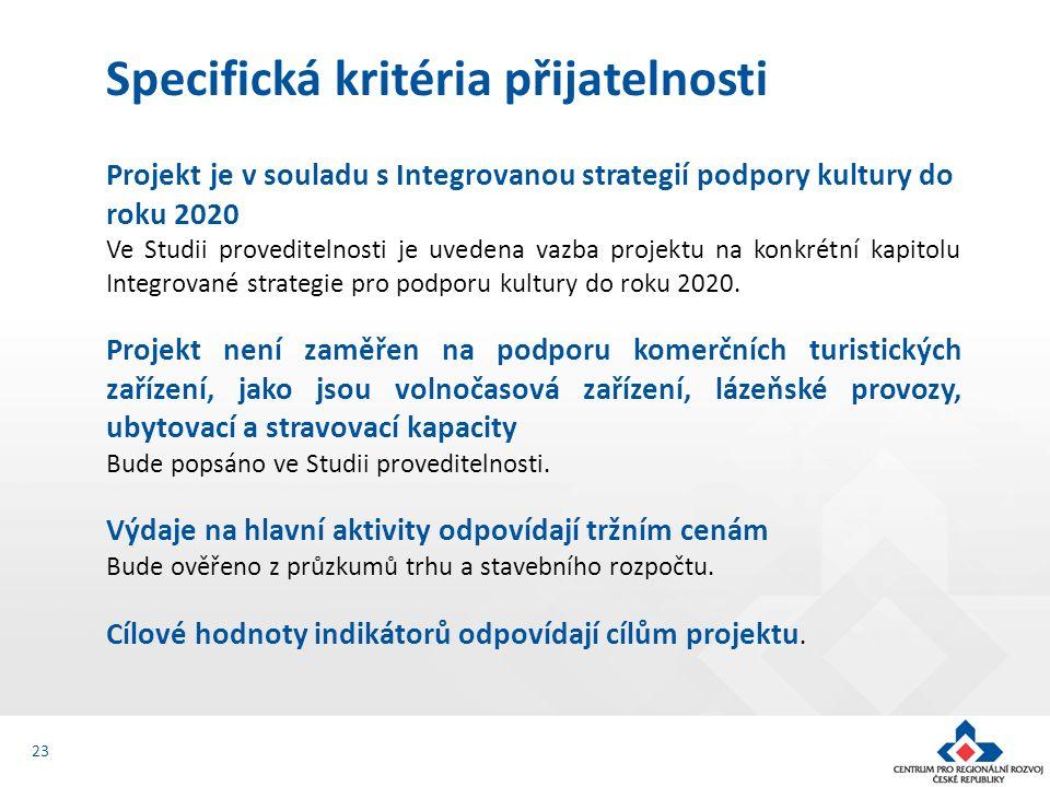 Projekt je v souladu s Integrovanou strategií podpory kultury do roku 2020 Ve Studii proveditelnosti je uvedena vazba projektu na konkrétní kapitolu I