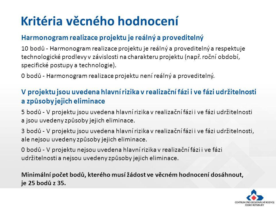 Kritéria věcného hodnocení Harmonogram realizace projektu je reálný a proveditelný 10 bodů - Harmonogram realizace projektu je reálný a proveditelný a respektuje technologické prodlevy v závislosti na charakteru projektu (např.
