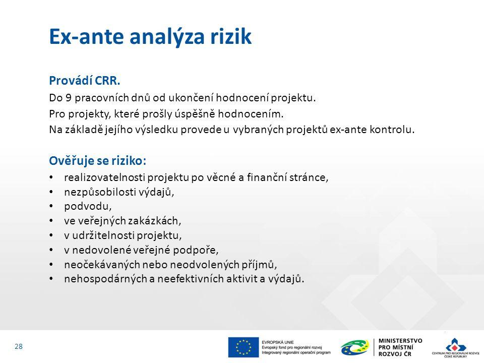 Provádí CRR. Do 9 pracovních dnů od ukončení hodnocení projektu. Pro projekty, které prošly úspěšně hodnocením. Na základě jejího výsledku provede u v