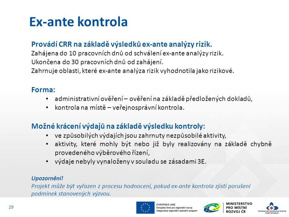 Provádí CRR na základě výsledků ex-ante analýzy rizik. Zahájena do 10 pracovních dnů od schválení ex-ante analýzy rizik. Ukončena do 30 pracovních dnů