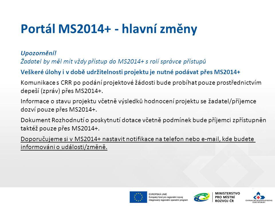 Portál MS2014+ - hlavní změny Upozornění! Žadatel by měl mít vždy přístup do MS2014+ s rolí správce přístupů Veškeré úlohy i v době udržitelnosti proj