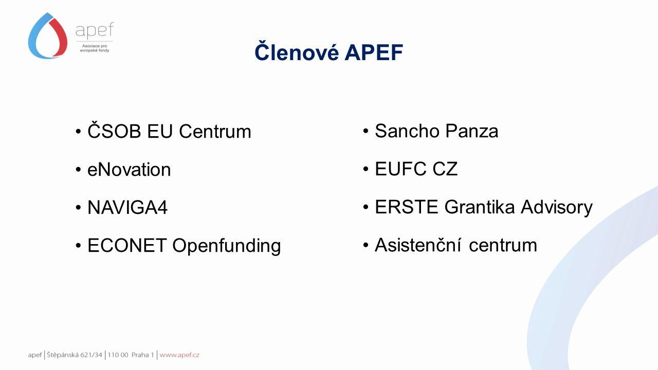 ČSOB EU Centrum eNovation NAVIGA4 ECONET Openfunding Sancho Panza EUFC CZ ERSTE Grantika Advisory Asistenční centrum Členové APEF