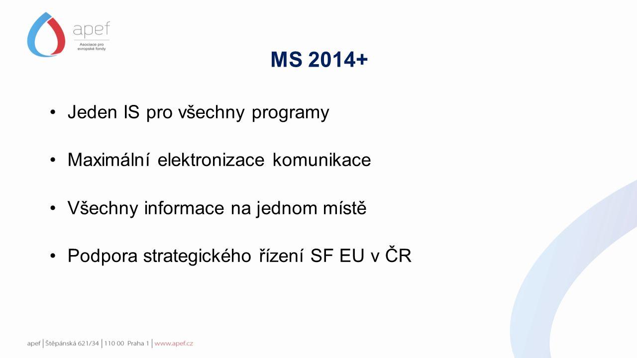 MS 2014+ Jeden IS pro všechny programy Maximální elektronizace komunikace Všechny informace na jednom místě Podpora strategického řízení SF EU v ČR