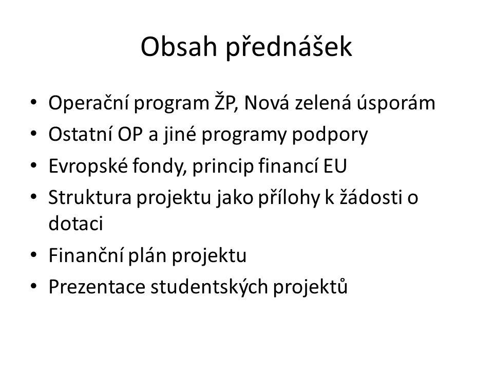 Obsah přednášek Operační program ŽP, Nová zelená úsporám Ostatní OP a jiné programy podpory Evropské fondy, princip financí EU Struktura projektu jako přílohy k žádosti o dotaci Finanční plán projektu Prezentace studentských projektů