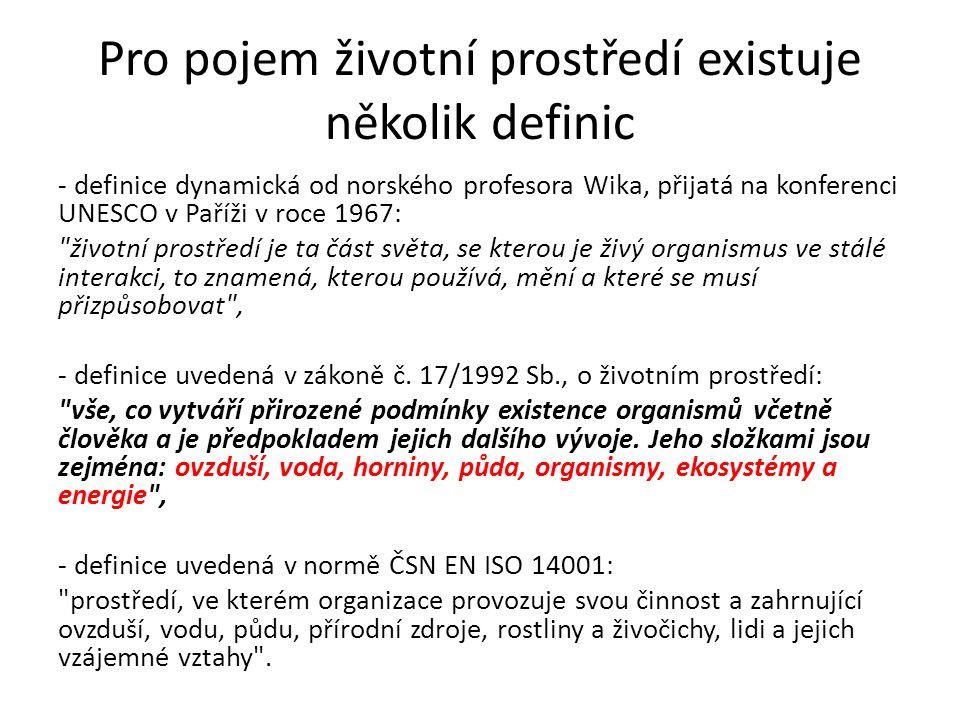 Pro pojem životní prostředí existuje několik definic - definice dynamická od norského profesora Wika, přijatá na konferenci UNESCO v Paříži v roce 1967: životní prostředí je ta část světa, se kterou je živý organismus ve stálé interakci, to znamená, kterou používá, mění a které se musí přizpůsobovat , - definice uvedená v zákoně č.