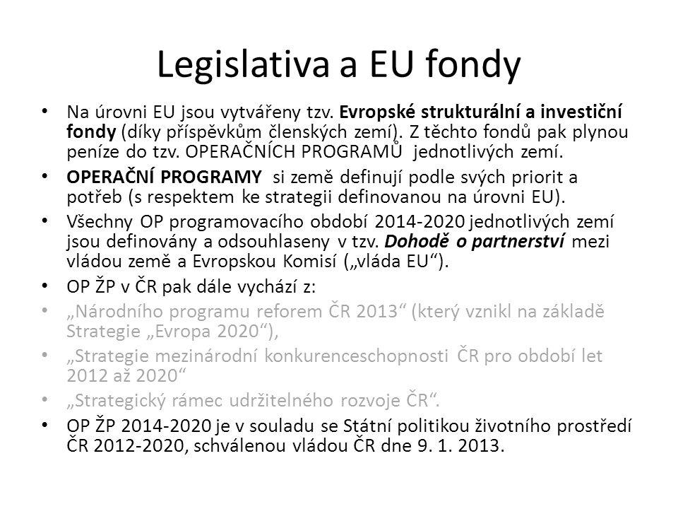 Legislativa a EU fondy Na úrovni EU jsou vytvářeny tzv.