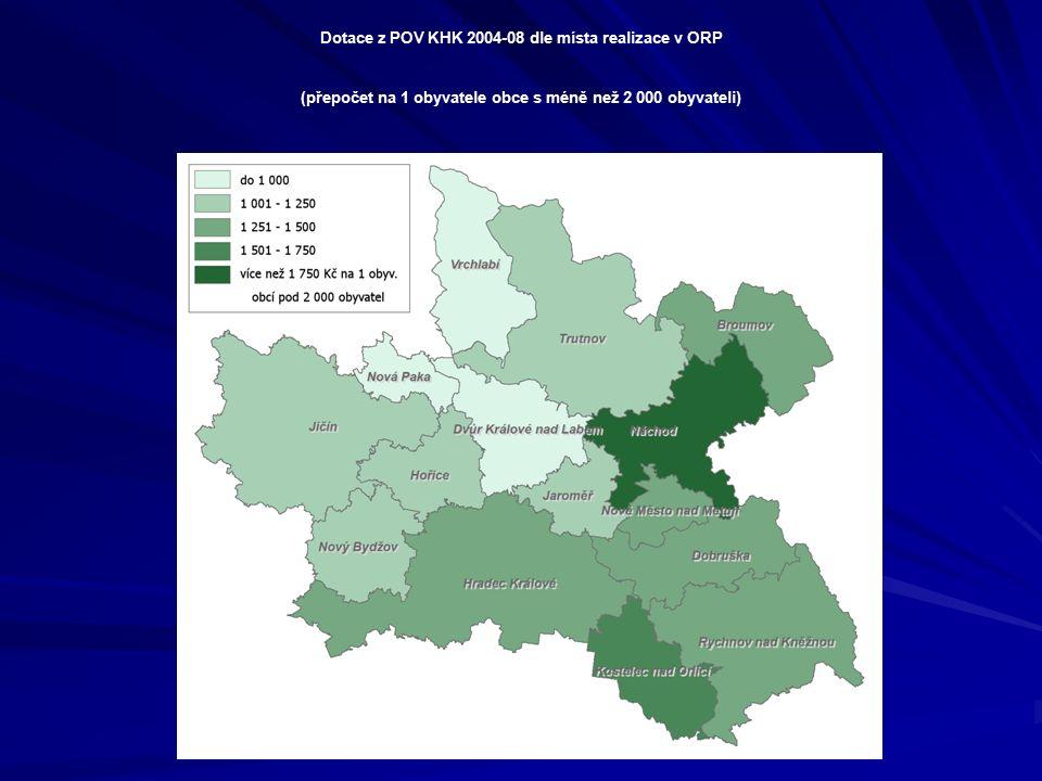 Dotace z POV KHK 2004-08 dle místa realizace v ORP (přepočet na 1 obyvatele obce s méně než 2 000 obyvateli)