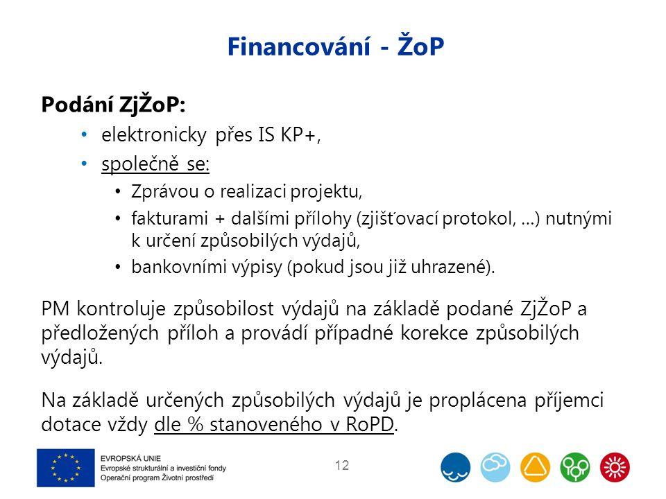 Financování - ŽoP Podání ZjŽoP: elektronicky přes IS KP+, společně se: Zprávou o realizaci projektu, fakturami + dalšími přílohy (zjišťovací protokol,