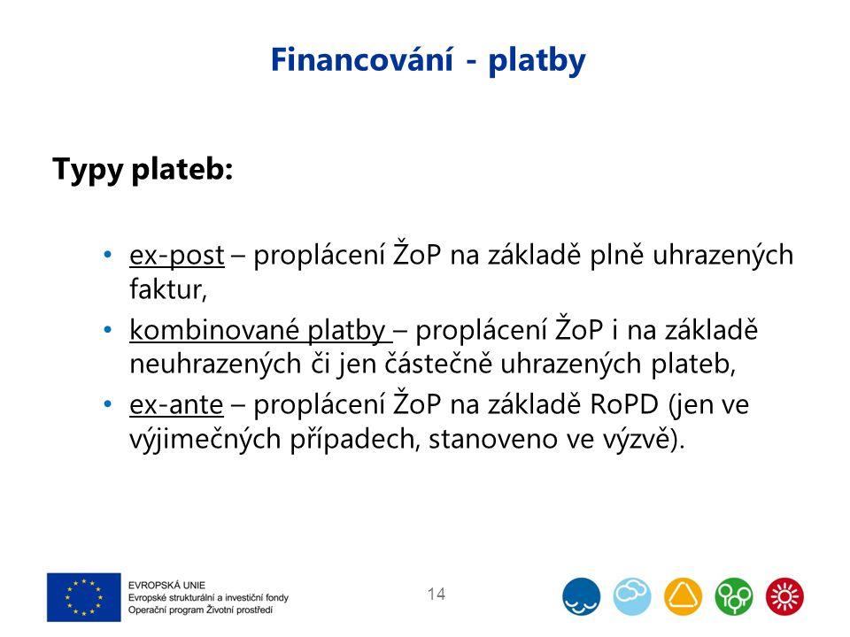 Financování - platby Typy plateb: ex-post – proplácení ŽoP na základě plně uhrazených faktur, kombinované platby – proplácení ŽoP i na základě neuhraz
