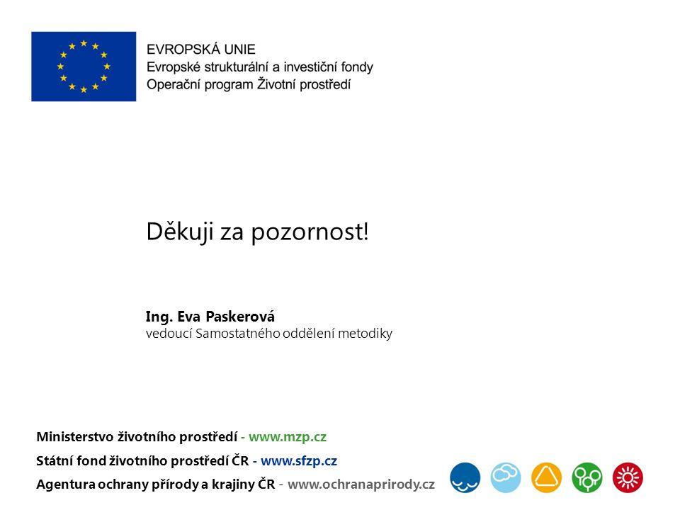 Děkuji za pozornost! Ing. Eva Paskerová vedoucí Samostatného oddělení metodiky Ministerstvo životního prostředí - www.mzp.cz Státní fond životního pro
