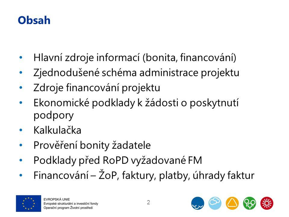 Obsah Hlavní zdroje informací (bonita, financování) Zjednodušené schéma administrace projektu Zdroje financování projektu Ekonomické podklady k žádost