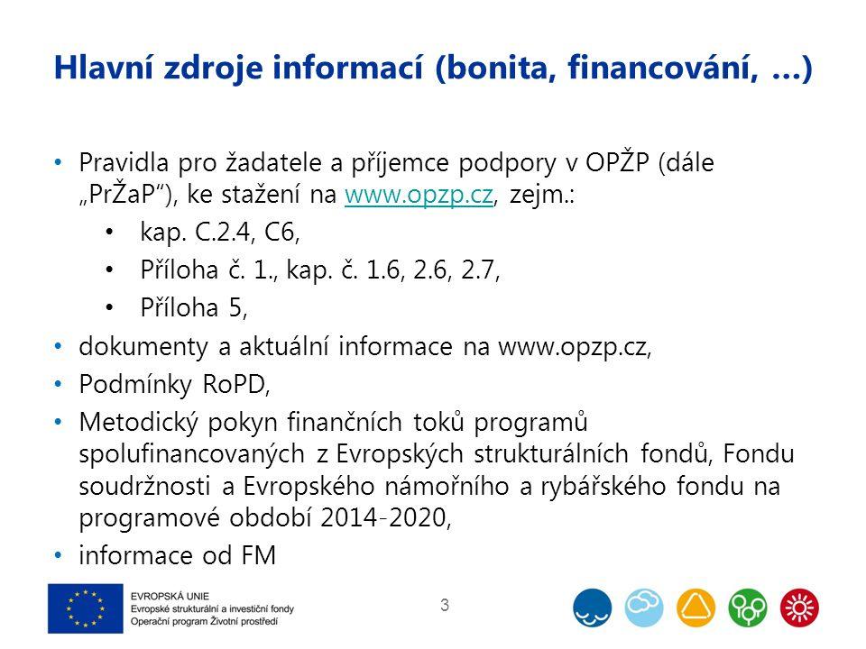 """Hlavní zdroje informací (bonita, financování, …) Pravidla pro žadatele a příjemce podpory v OPŽP (dále """"PrŽaP""""), ke stažení na www.opzp.cz, zejm.:www."""