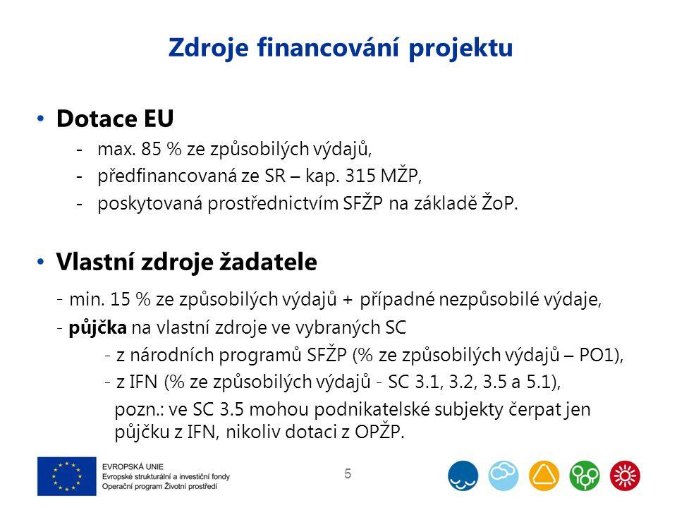 Zdroje financování projektu Dotace EU  max. 85 % ze způsobilých výdajů,  předfinancovaná ze SR – kap. 315 MŽP,  poskytovaná prostřednictvím SFŽP na