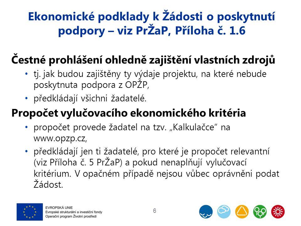Ekonomické podklady k Žádosti o poskytnutí podpory – viz PrŽaP, Příloha č. 1.6 Čestné prohlášení ohledně zajištění vlastních zdrojů tj. jak budou zaji