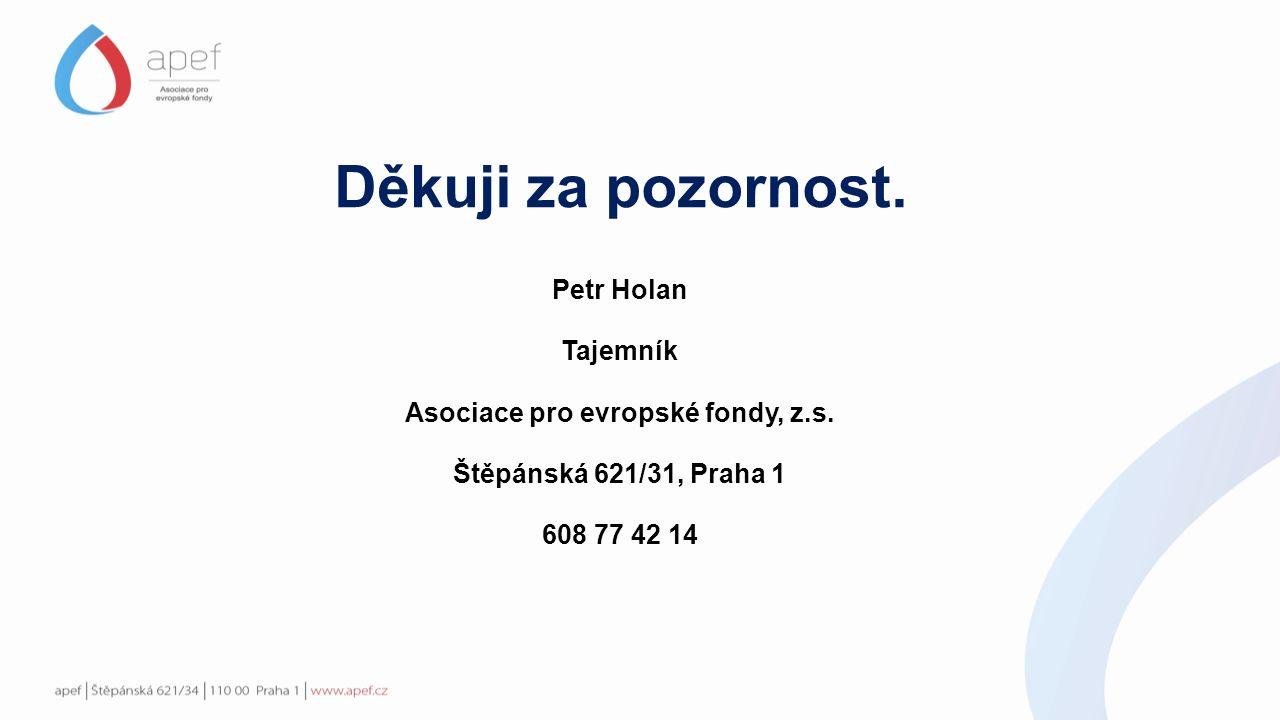 Děkuji za pozornost. Petr Holan Tajemník Asociace pro evropské fondy, z.s.