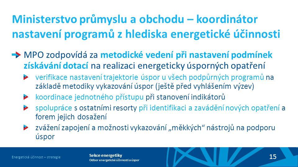 Sekce energetiky Odbor energetické účinnosti a úspor Energetická účinnost – strategie 15 Ministerstvo průmyslu a obchodu – koordinátor nastavení progr