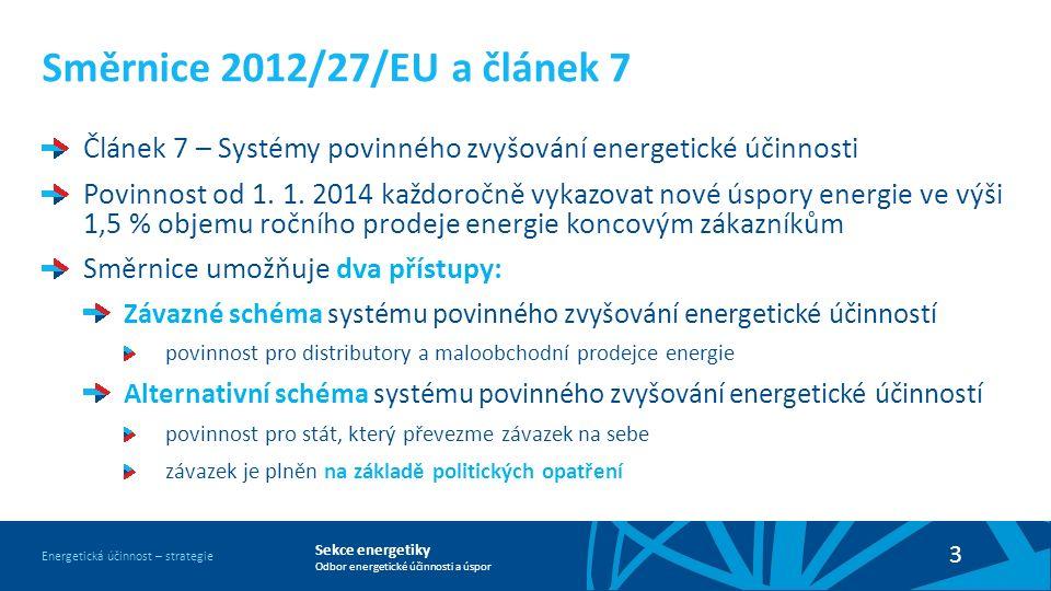 Sekce energetiky Odbor energetické účinnosti a úspor Energetická účinnost – strategie 3 Směrnice 2012/27/EU a článek 7 Článek 7 – Systémy povinného zvyšování energetické účinnosti Povinnost od 1.