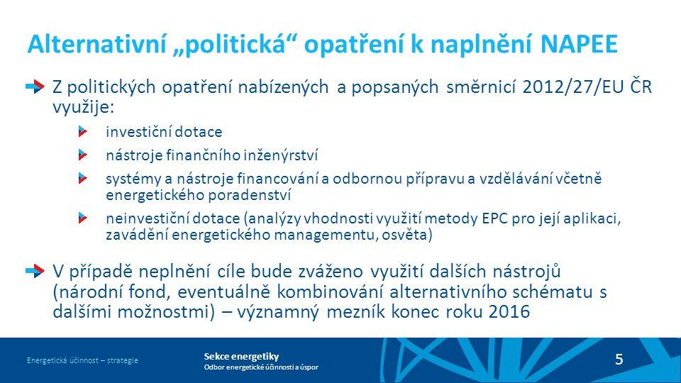 """Sekce energetiky Odbor energetické účinnosti a úspor Energetická účinnost – strategie 5 Alternativní """"politická"""" opatření k naplnění NAPEE Z politický"""