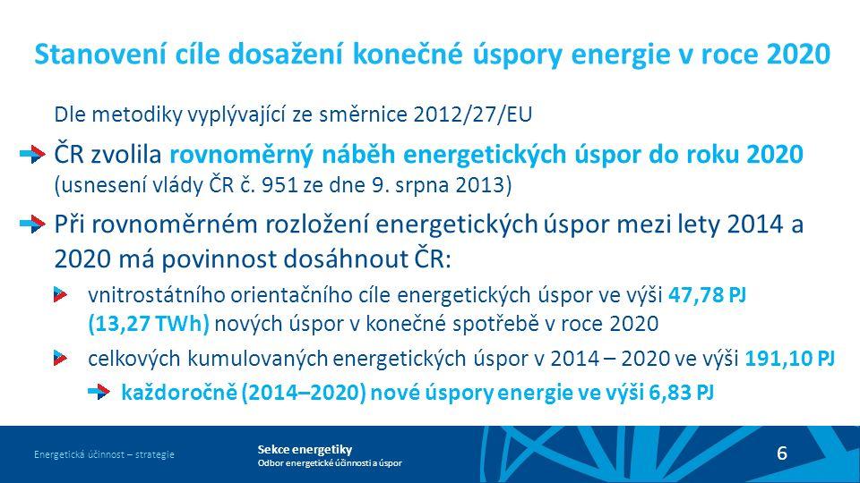 Sekce energetiky Odbor energetické účinnosti a úspor Energetická účinnost – strategie 6 Stanovení cíle dosažení konečné úspory energie v roce 2020 Dle metodiky vyplývající ze směrnice 2012/27/EU ČR zvolila rovnoměrný náběh energetických úspor do roku 2020 (usnesení vlády ČR č.