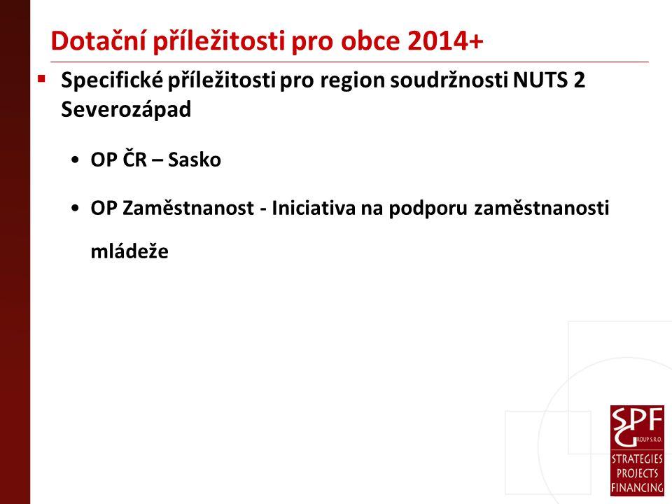 Dotační příležitosti pro obce 2014+  Specifické příležitosti pro region soudržnosti NUTS 2 Severozápad OP ČR – Sasko OP Zaměstnanost - Iniciativa na podporu zaměstnanosti mládeže