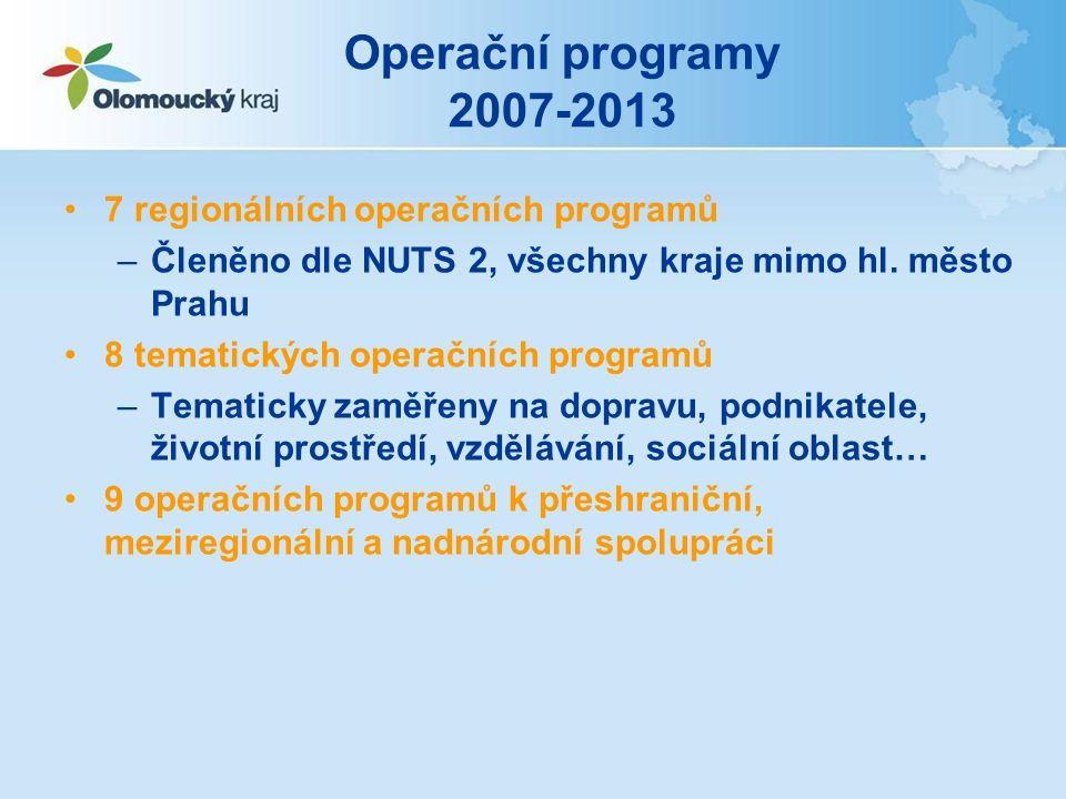 Operační programy 2007-2013 7 regionálních operačních programů –Členěno dle NUTS 2, všechny kraje mimo hl.