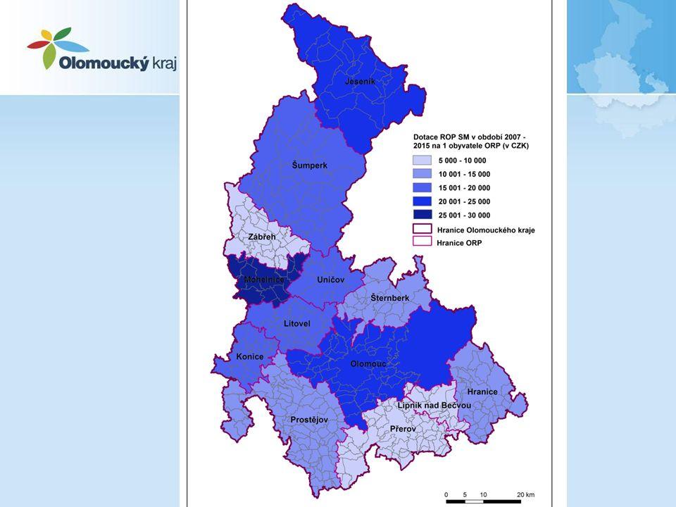 Olomoucký kraj v ROP SM Projekty předkládal Olomoucký kraj a 7 organizací zřizovaných Olomouckým krajem –Dotace ROP SM: cca 3,2 mld.