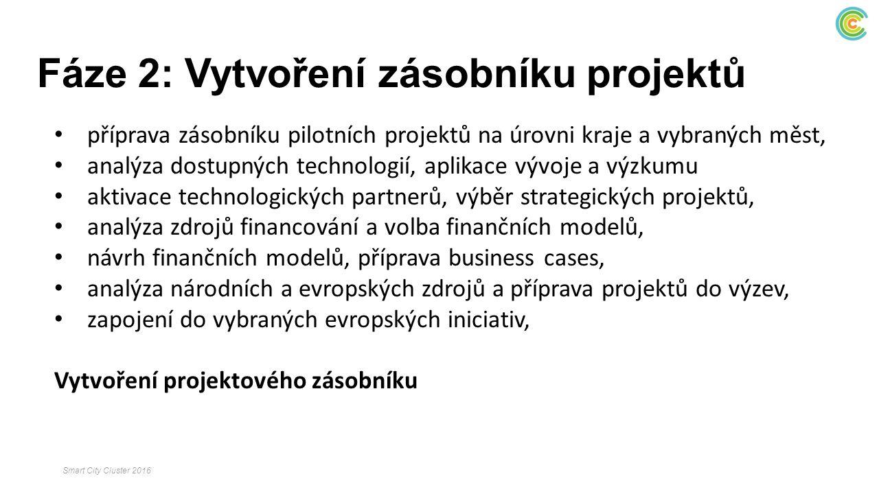 Fáze 2: Vytvoření zásobníku projektů příprava zásobníku pilotních projektů na úrovni kraje a vybraných měst, analýza dostupných technologií, aplikace vývoje a výzkumu aktivace technologických partnerů, výběr strategických projektů, analýza zdrojů financování a volba finančních modelů, návrh finančních modelů, příprava business cases, analýza národních a evropských zdrojů a příprava projektů do výzev, zapojení do vybraných evropských iniciativ, Vytvoření projektového zásobníku Smart City Cluster 2016