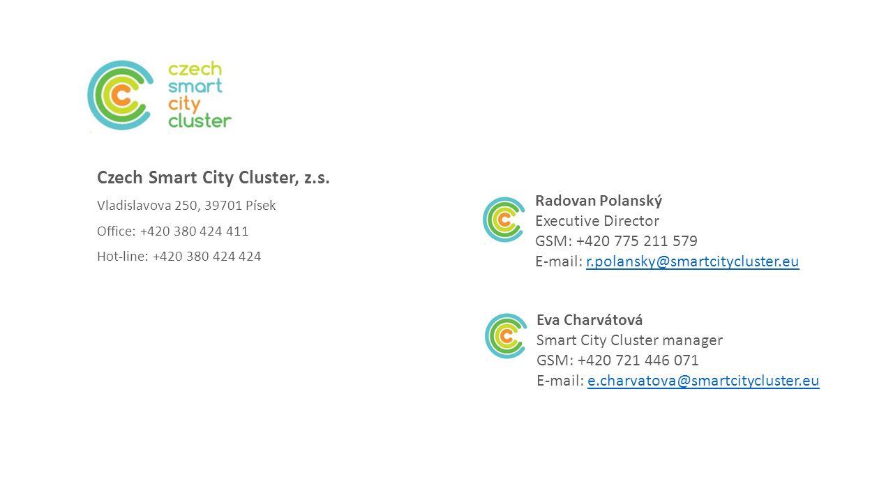 Czech Smart City Cluster, z.s. Vladislavova 250, 39701 Písek Office: +420 380 424 411 Hot-line: +420 380 424 424 Radovan Polanský Executive Director G