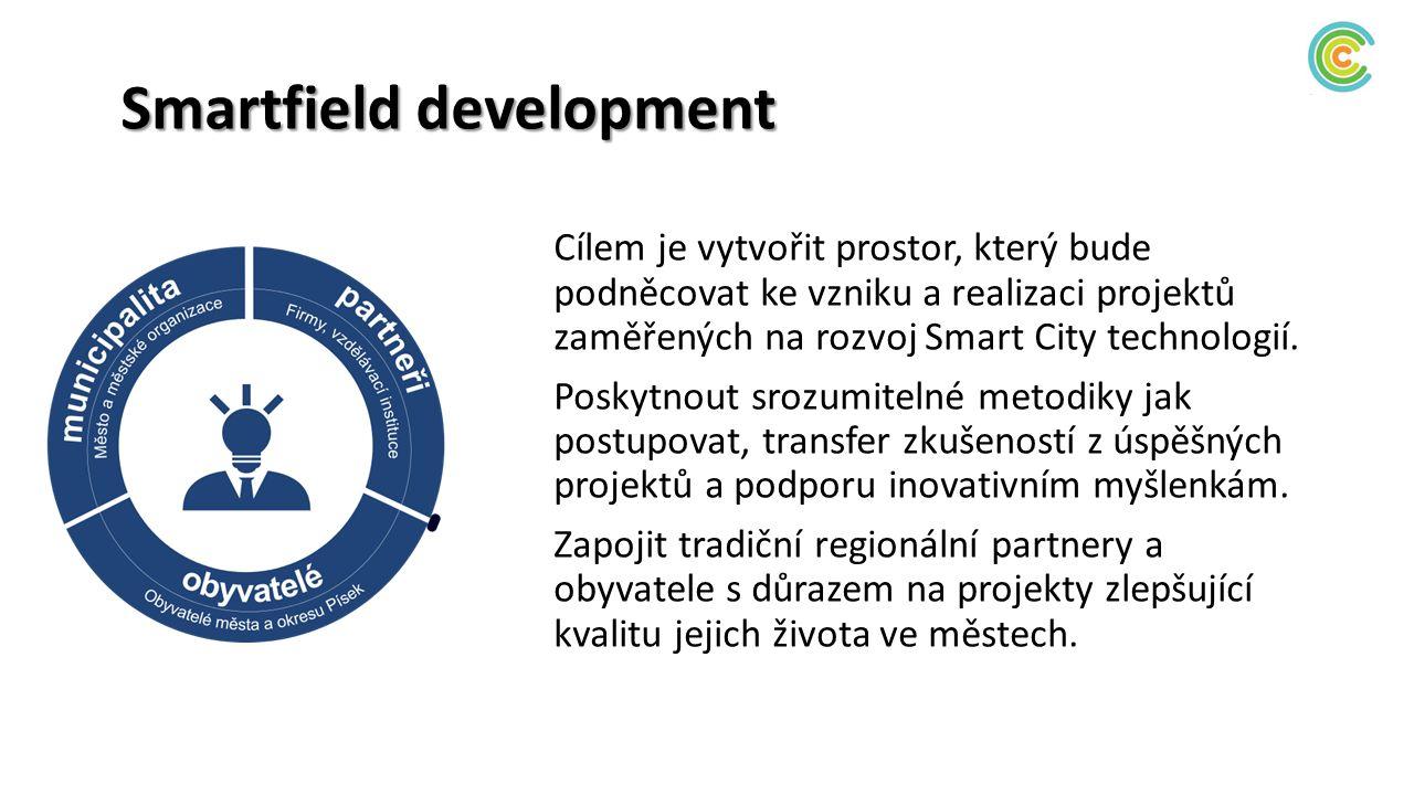 Smartfield development Cílem je vytvořit prostor, který bude podněcovat ke vzniku a realizaci projektů zaměřených na rozvoj Smart City technologií. Po