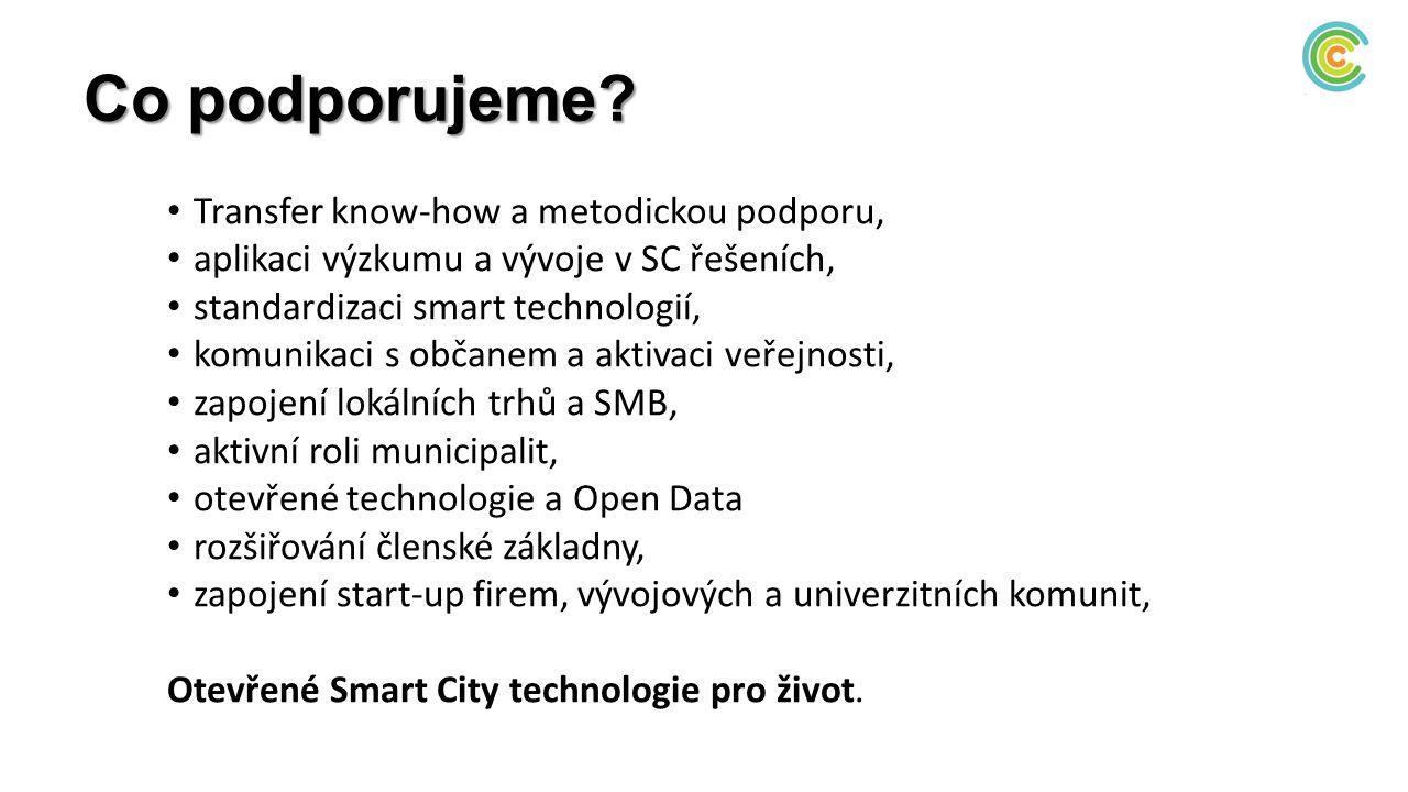 Co podporujeme? Transfer know-how a metodickou podporu, aplikaci výzkumu a vývoje v SC řešeních, standardizaci smart technologií, komunikaci s občanem