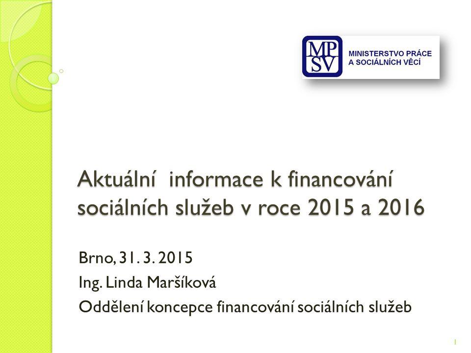 Aktuální informace k financování sociálních služeb v roce 2015 a 2016 Brno, 31.